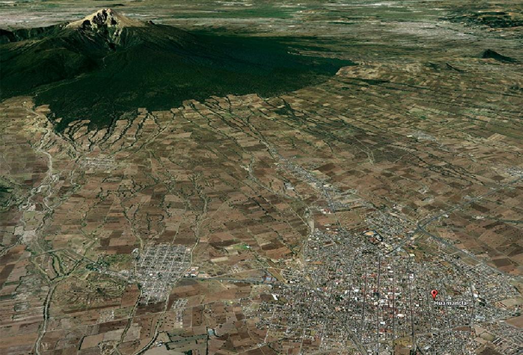 Ubicación de Huamantla en la ladera de la montaña / Googlemaps.